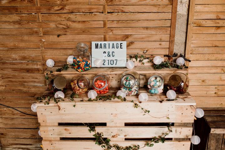 Décoration mariage champêtre au Domaine du Bouloy